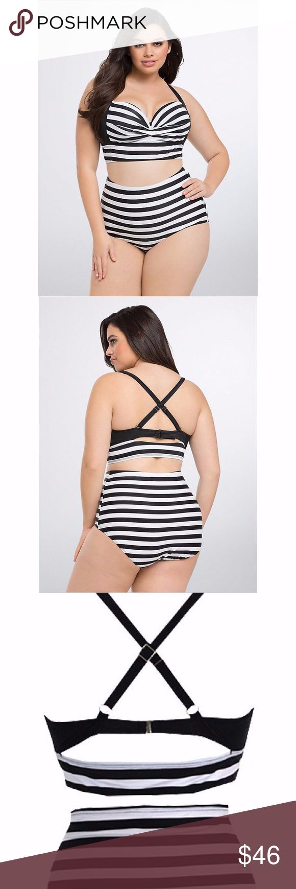 High waist two piece bikini. New High waist two piece bikini. New. Black And White striped with adjustable straps, padded cups, and underwire.  high waist bottoms with flattering pleating.. Lots of stretch as :82%nylon 18%spandex. Size XXXL but runs smaller, fits like 14/16 (please refer to size chart.) Swim Bikinis