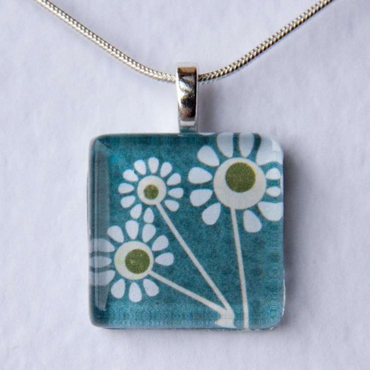 Handmade Glass Tile Teal Daisies Pendant - pinned by pin4etsy.com