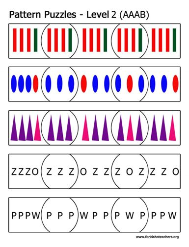 Here's a set of AAAB pattern puzzles.