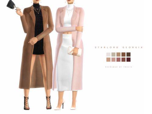 """kiskot: """" Georgia Coat Recolour - ts4 """" Get the [Original] / **Part swatch** / [Recolour] coat, bag, clutch starlord-sims / dress salem2342 / top porcelain-warehouse / acc, skirt me / shoes madlensims """" """""""