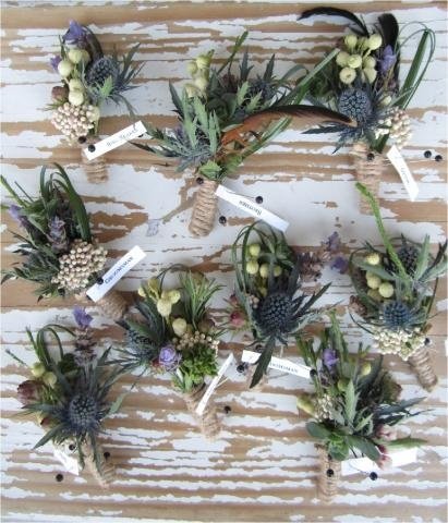 Button holes of Thistles and berries.