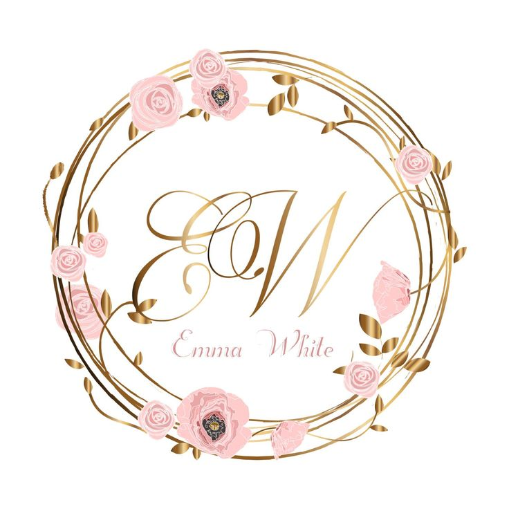 DIGITAL Wreath flowers logo, Custom Logo , flower wreath Logo watermark, pink flowers logo design, roses logo, flowers logo, wreath logo