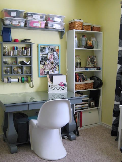 Craft room organization tips - put as much as you can on standing and/or mounted shelves