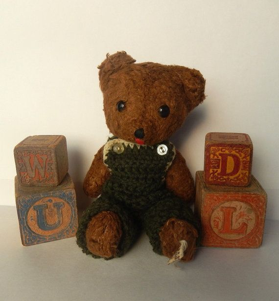Small Vintage  Stuffed Jointed Teddy Bear With by AntiqueGardens