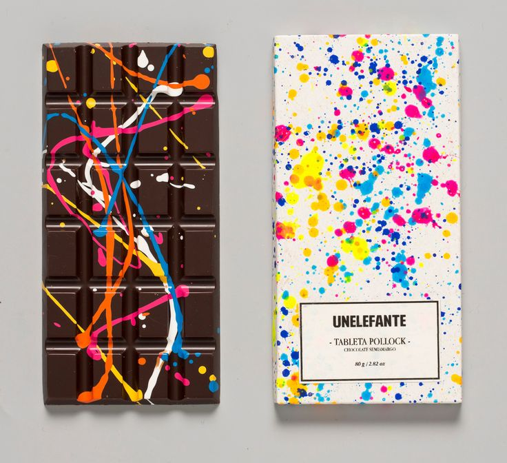 The Pollock Chocolate Bar by unelephante: Hand-Painted with cocoa butter in vivid colors ensuring that each bar is totally unique and one of a kind. Finally, the bars are tucked safely inside a hand-painted package. Thanks to @rsilbermann ! #Chocolate