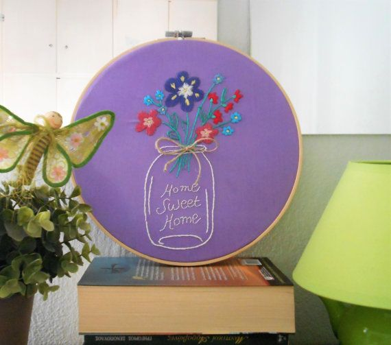 embroidery hoop art modern embroidery wall decor home sweet home flowers embroidery unique wall art fiber art  quote embroidery perfect gift