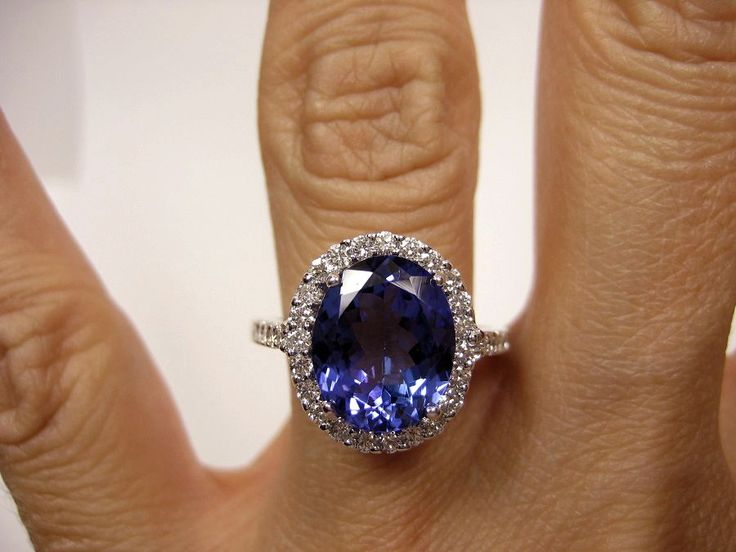 Vintage Estate Retro 4.14ct Oval TANZANITE Diamond Deep AAA Violetish Blue IGI Certified Platinum Ring