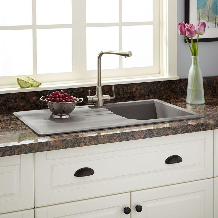"""34"""" Owensboro Drop-In Granite Composite Sink with Drain Board - Gray"""