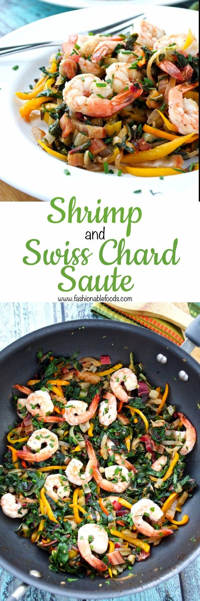 Stir-fries are a super fast and healthy way to get dinner on the table. Typically they are made using Asian flavors, but in this sauté I chose to go a different route. Swiss chard is tossed with flavorful ingredients and then topped with tender shrimp for a healthy and delicious weeknight meal.