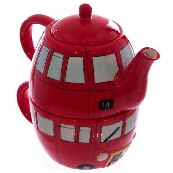 Achat Vente Théière individuelle et Mug bus anglais rouge London