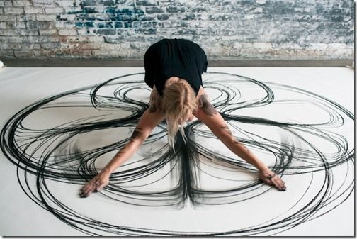 Artist Tries download  Her Own movement  directly onto paper