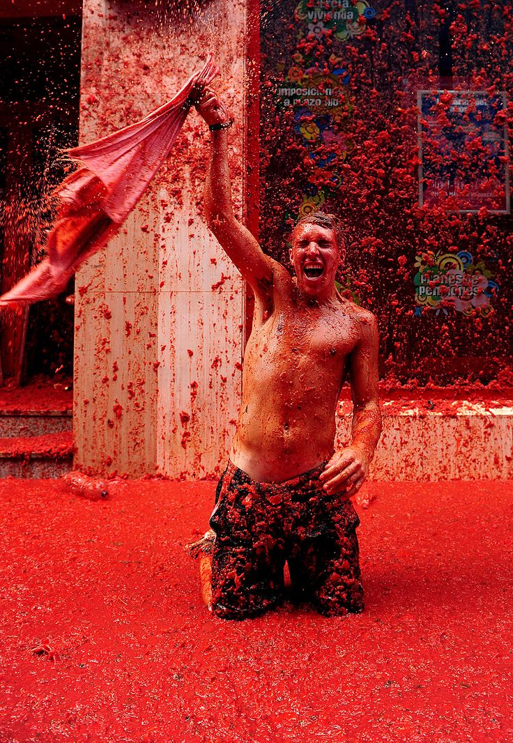 La Tomatina (Tomato Throwing Festival) held in Buñol, in the province of Valencia, Spain