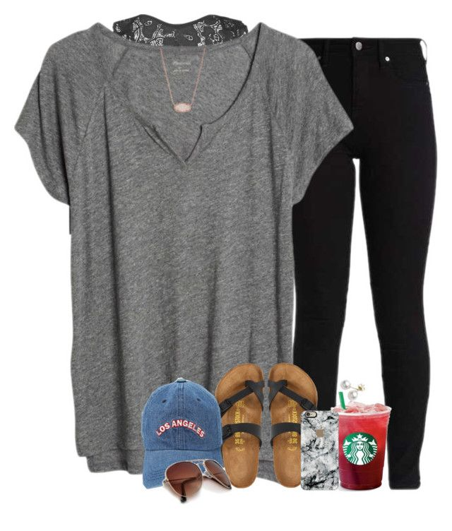 """""""///////////•"""" by southernstruttin ❤ liked on Polyvore featuring Youmita, Madewell, Birkenstock, Mikimoto, Kendra Scott and Casetify"""