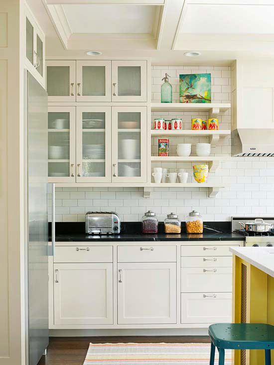 mix glass front cabinets with open shelving