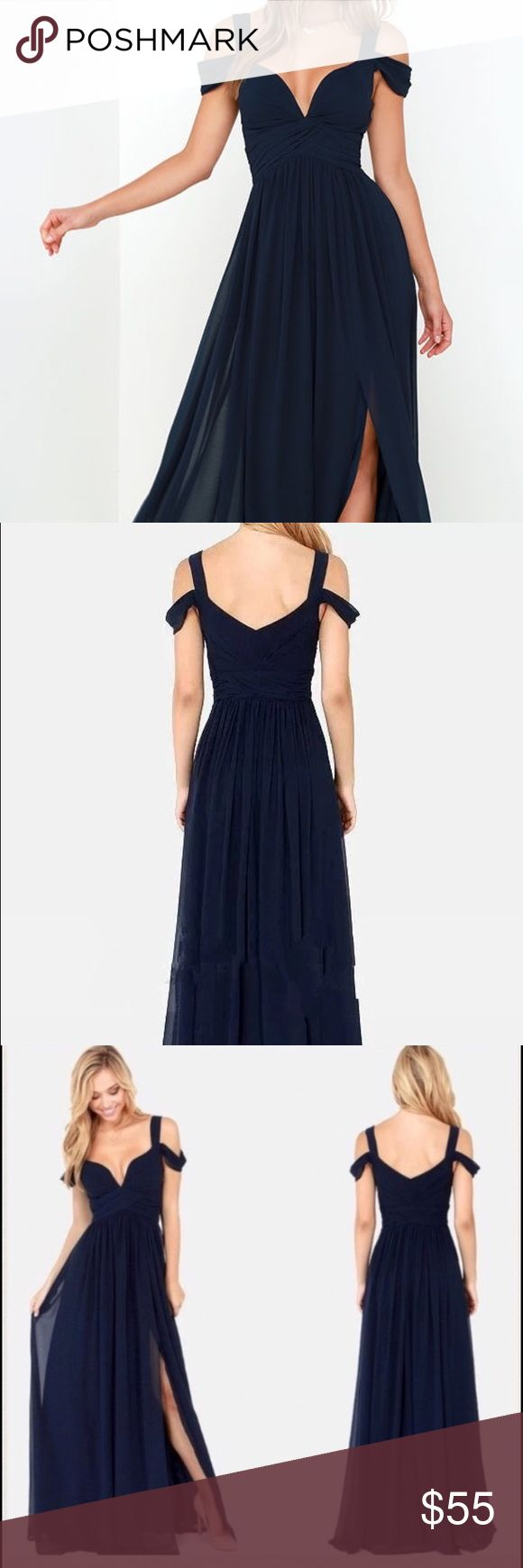 "Bariano Ocean of Elegance Navy Evening Gown XS  Sexy Navy Blue Chiffon Evening Off the Shoulder Formal Evening Gown. This is not the official Bariano brand. It is mentioned for visibility. Size XS 0-2. Hidden Zipper. Bust 30"" Waist 26"" Hips 35"" Length 62"". Excellent Condition with no signs of wear. No Brand. Bundle 2 or more items and get 20% off your entire purchase! Dresses Prom"
