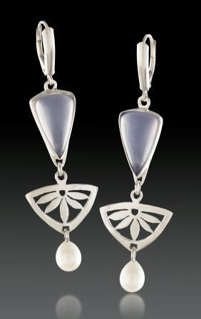 Blue Chalcedony Set in Sterling Silver with Pearls