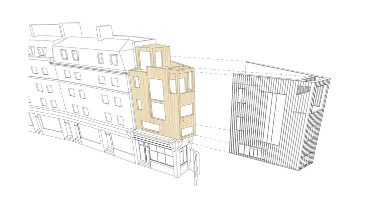 Concept drawing, timber structure beneath zinc cladding