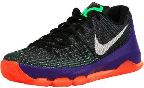 Nike Men's Kd 8 Black / White-Green Shock-Hyper Orange Ankle-High Fabric Basketball Shoe - 10.5M