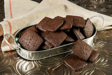 Homemade Chocolate Wafer Cookies bake into thin, crisp, chocolatey treats that continue to taste wonderful all the time. Recipe online.