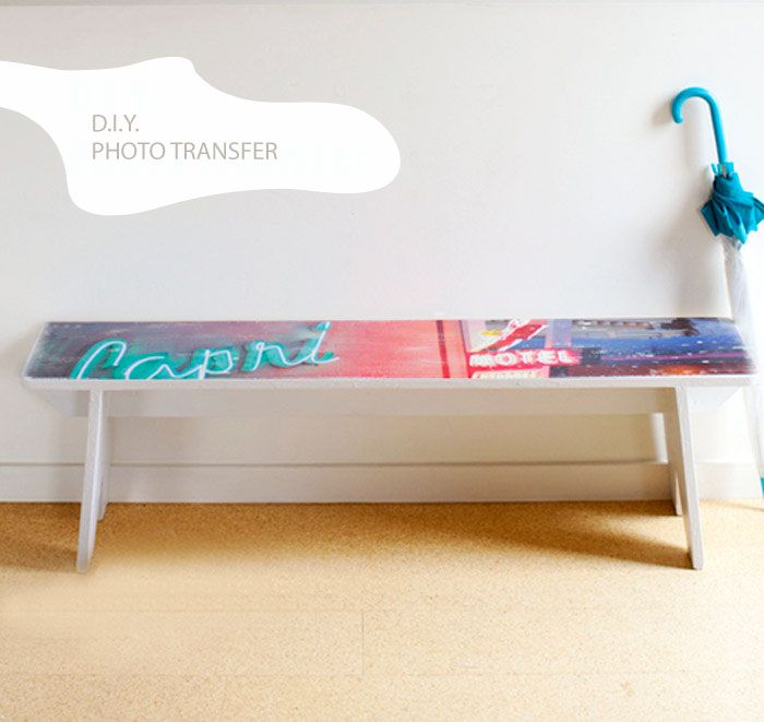 Put a personal touch on a plain thrifted bench with a cool #DIY photo transfer.
