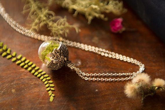 Irish Woodland Terrarium Acorn Necklace Real by LomharaJewellery