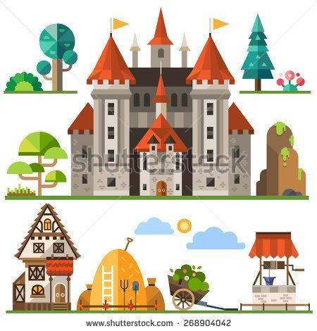 Medieval kingdom element: stone castle, wooden house, trees, rocks, well, haystacks. Vector flat illustrations - stock vector