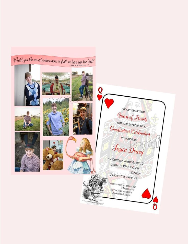 Whimsical Alice In Wonderland Grad Invitation: Call us to get this fun-loving invite customized for your big party! #graduation #graduationinvitation #graduationparty