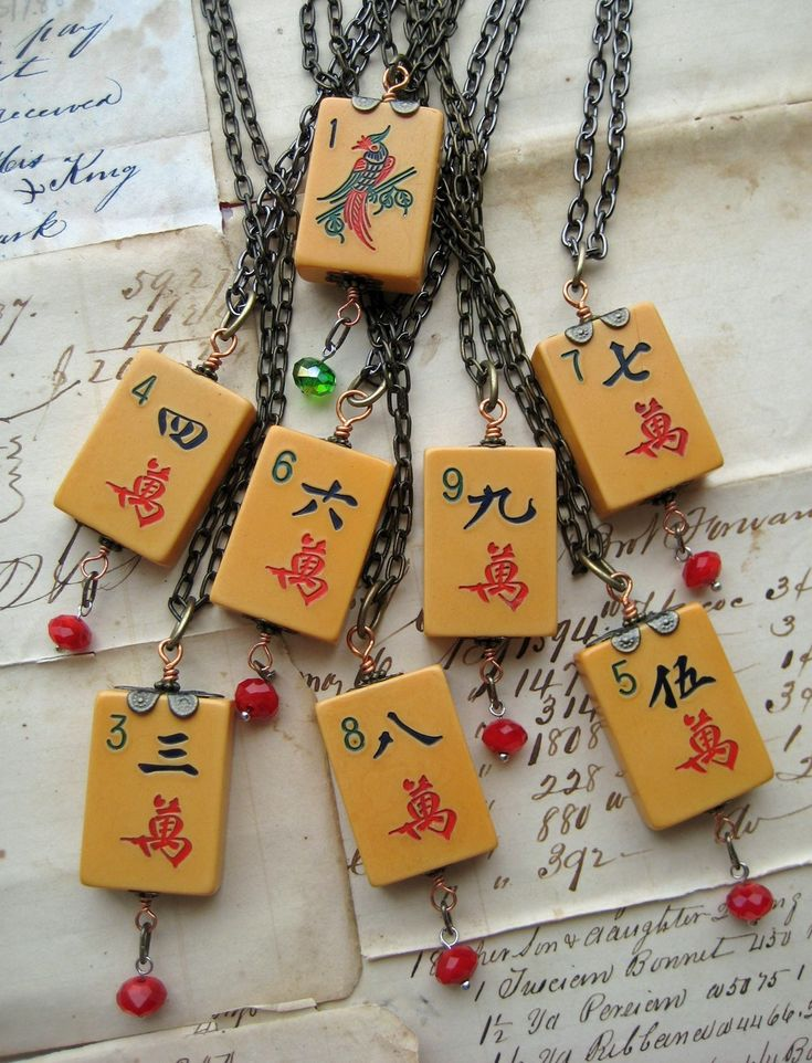 50% OFF Sale Antique Asian Steampunk Necklace Bakelite VINTAGE game piece mah jong tile mah jong tile board game. $29.00, via Etsy.