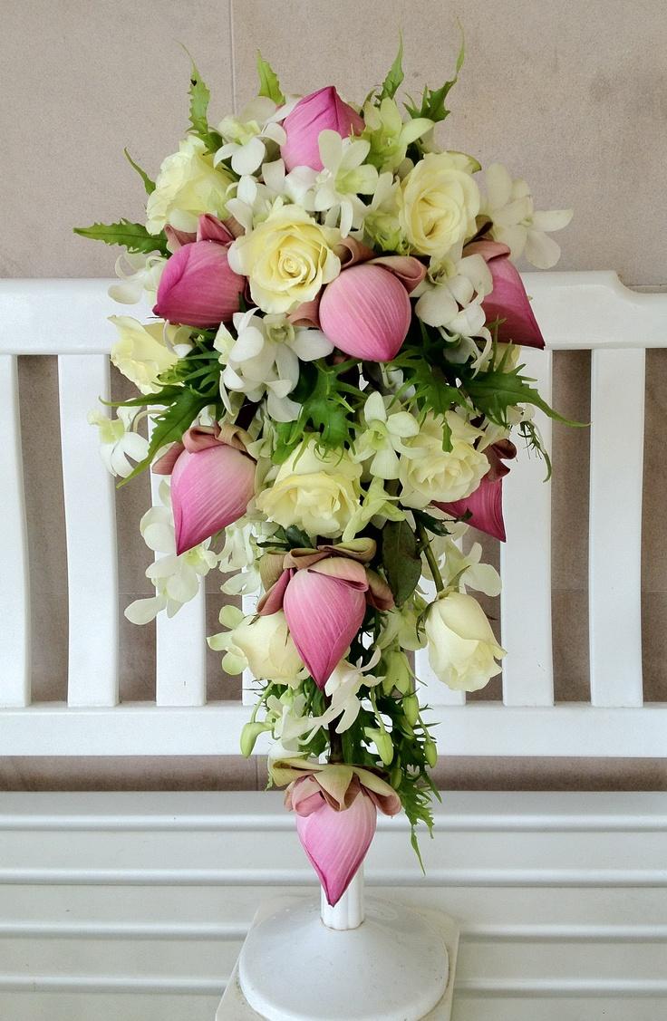 Pink Lotus White Rose Dendrobium Orchid Tropical Wedding BouquetsTropical WeddingsBouquet