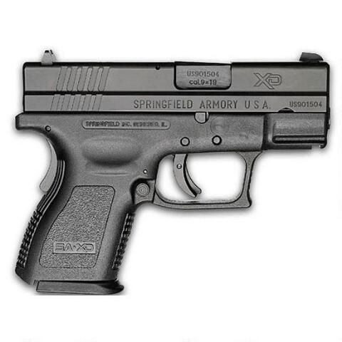 """Springfield Armory XD Sub Compact Semi Automatic Handgun Essentials Package 9mm 3"""" Barrel 16 Rounds Black Polymer Frame - XD9801HC - 706397862275"""
