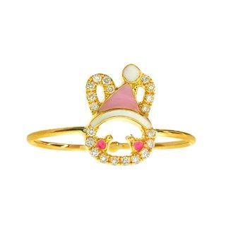 Cincin Berlian dan Emas 75% Sherry Bunny Pink Cone Hat