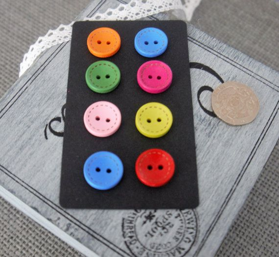 10 x Round Colourful Wooden Craft Button with 2 Holes and