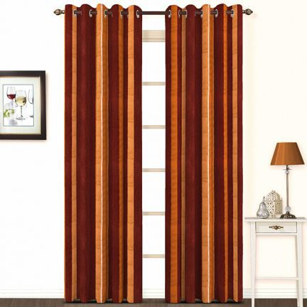 Skipper Cotton Brown Stripes Curtain - Add oodles of style to your home with an exciting range of designer furniture, furnishings, decor items and kitchenware. We promise to deliver best quality products at best prices.