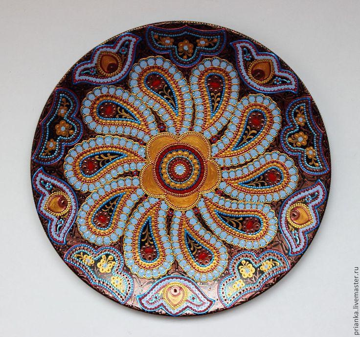 Купить Русский сувенир.Декоративная тарелка. - голубой, золотой с голубым, Тарелка декоративная, тарелка настенная
