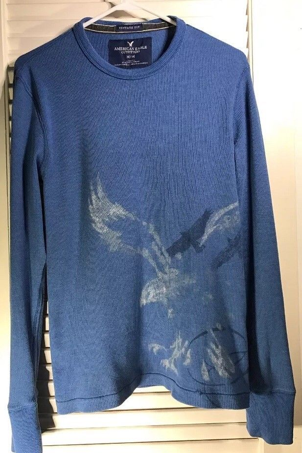 American Eagle Vintage Fit Factory Faded Print Thermal LS Gray Mens Shirt Sz M  | eBay