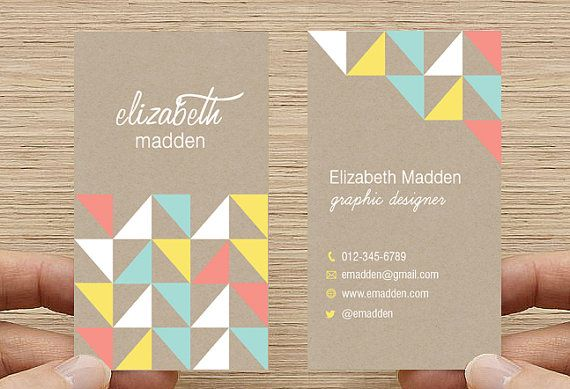 Geometric Triangles Business Card - Kraft Paper Rustic Design. Printable Premade Template, Calling Card - Digital Download DIY