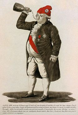 """Tinted etching of Louis XVI of France, 1792. The caption refers to Louis's capitulation to the National Assembly, and concludes """"The same Louis XVI who bravely waits until his fellow citizens return to their hearths to plan a secret war and extract his revenge."""""""
