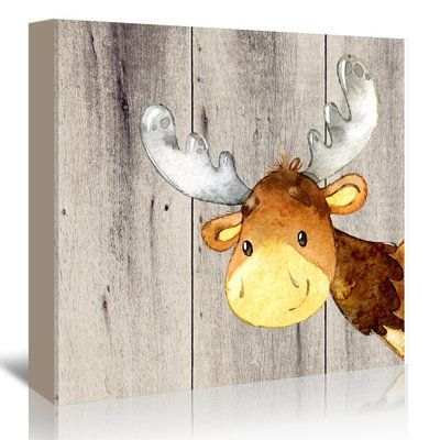 East Urban Home 'Woodland Friends Wild Animal Deer Square' Graphic Art Print on Canvas