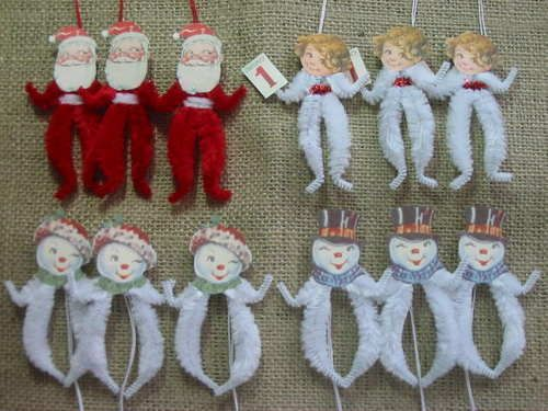 Primitive Vintage Style Winter Ornaments Christmas Chenille Feather Tree New picclick.com