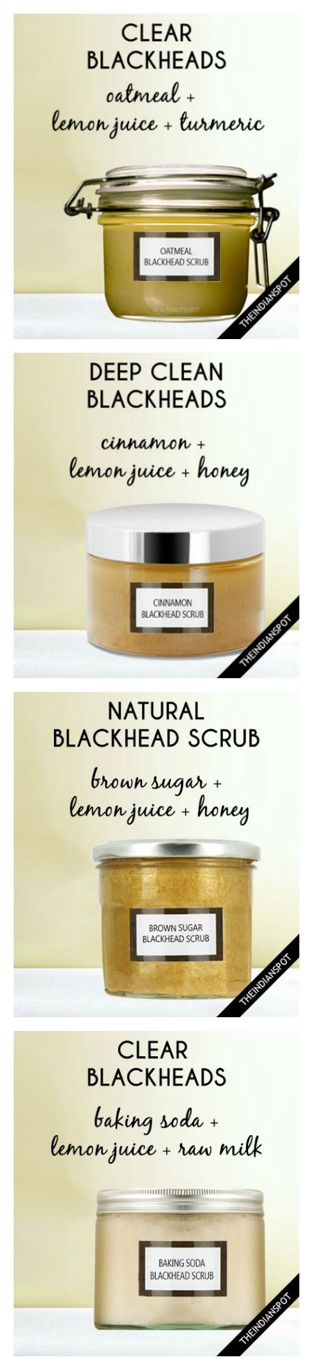 5 Best Homemade Blackhead Remover Scrubs. http://www.ebay.co.uk/usr/thevoyagebird Check out this natural remedies / home remedies using lemon juice, turmeric, oatmeal, cinammon, honey, and other things you can find within your own house. Add them to your skincare routine following this skincare  https://www.etsy.com/uk/shop/TheVoyageBird
