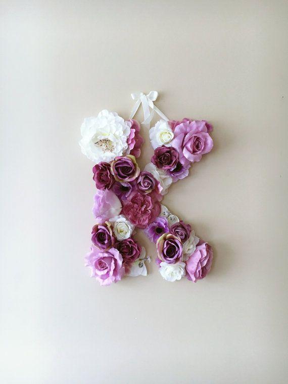 Flower Monogram, Nursery initials, Flower girl gift, Kids gift, Nursery decor, Flower letter / Baby shower gift, Photography Prop