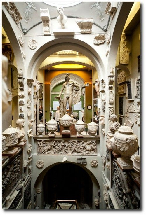 House and museum of Sir John Soane, R.A., 1753 - 1837. On his appointment as Professor of Architecture at the Royal Academy in 1806 Soane began to arrange the Books, casts and models in order that the students might have the benefit of easy access to them. By 1827, when John Britton published the first description of the Museum, Soane's collection was being referred to as an 'Academy of Architecture'.