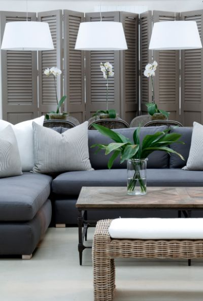 Grey sofa, shutters and natural textures (image via The Paper Mulberry Pinterest)
