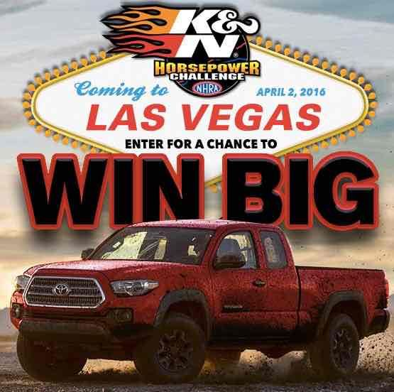 Grab a chance to win an all-new 2016 Toyota Tacoma or a trip for 2 to the 17th Annual DENSO Spark Plus NHRA Nationals at Las Vegas Motor Speedway.                                 #Sweepstakes, #Challenge, #Toyota, #Big, #Prizes, #Win, #Car, #Trip