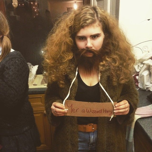 Want to be Hagrid for Halloween? Grab a furry coat, tease your hair, add some fake facial hair, and you've got the easiest DIY costume out there.