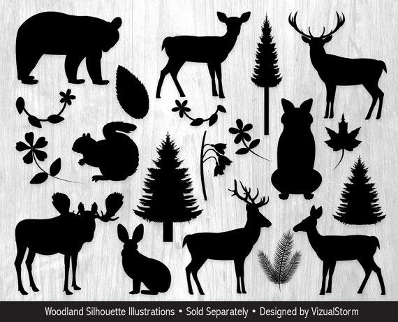 Woodland Animals Clipart Bundle Forest Animal Graphics Etsy Animal Silhouette Animal Clipart Silhouette Clip Art