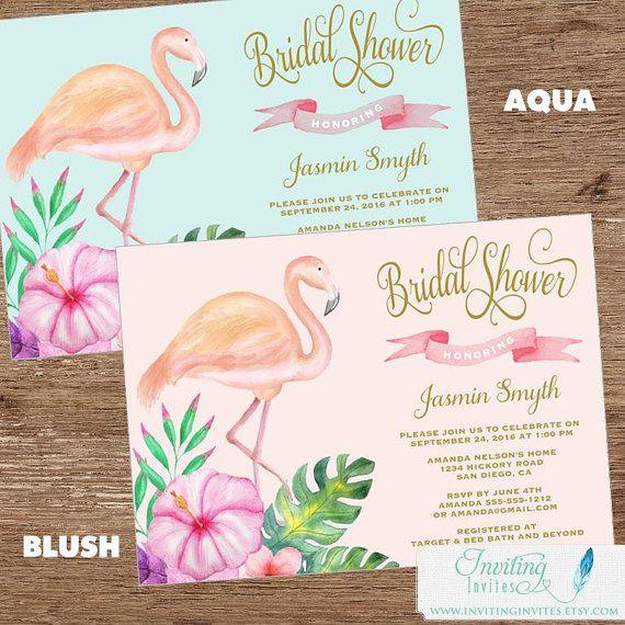 Flamingo Bridal Shower Invitation Tropical by InvitingInvites
