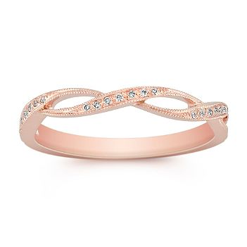 Charming and dainty rose gold and diamond ring. Vintage and classic at its best.