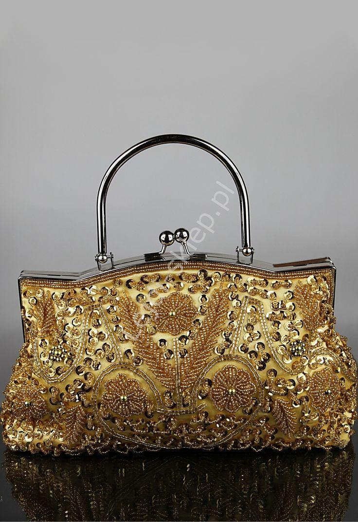 Złota torebka w stylu barokowym - RĘKODZIEŁO| wyszywana złotymi koralami, cekinami UNIKAT