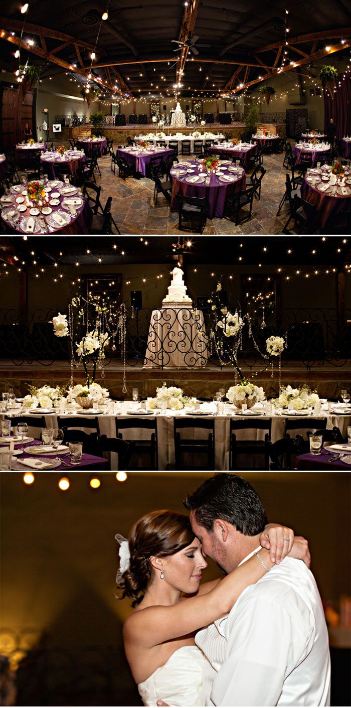 Loved the purple linens and the white head table.